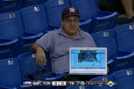Dude couldn't make it to the game...  ...so his friend Skyped him in.